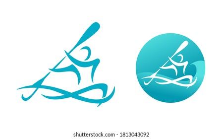 Canoeing logo or kayaking sport emblem - man silhouette that rowing with oars of canoe and river or lake waves