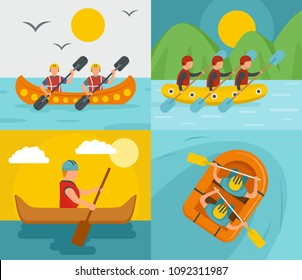 Canoeing raft team banner concept set. Flat illustration of 4 canoeing raft team vector banner concepts for web