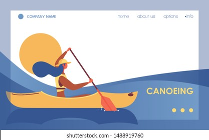 Canoeing woman in river or lake landing page template. Vector banner with blue wave and flat character good for kayaking school or outdoor leisure activity with canoe
