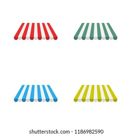 Canopy awning. Sunshade for shops vector big set