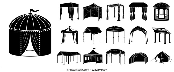 Canopy gazebo shed tent icon set. Simple set of canopy gazebo shed tent vector icons for web design on white background