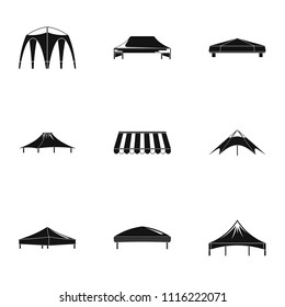 Canopy icons set. Simple set of 9 canopy vector icons for web isolated on white background