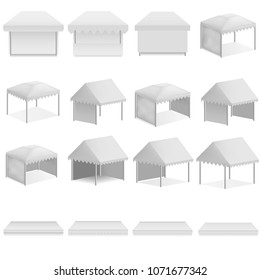 Canopy shed overhang awning mockup set. Realistic illustration of 16 canopy shed overhang awning mockups for web