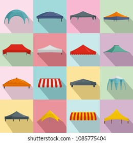 Canopy shed overhang icons set. Flat illustration of 16 canopy shed overhang vector icons for web