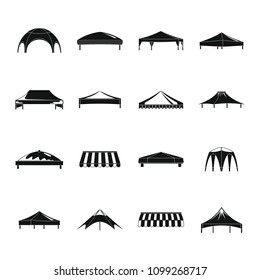 Canopy shed overhang icons set. Simple illustration of 16 canopy shed overhang vector icons for web