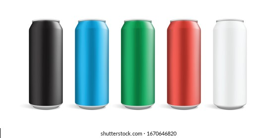 cans of different colors isolated on white background vector mock up