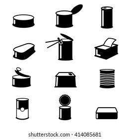 Cans food,canned goods icons. Container isolated, aluminum open.  Vector illustration