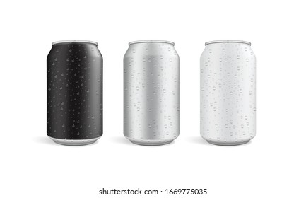 cans with water drops isolated on white background vector mock up