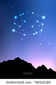Canser zodiac constellations sign with forest landscape silhouette on beautiful starry sky with galaxy and space behind. Canser horoscope symbol constellation on deep cosmos background. Card design