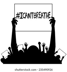 I can't breathe protest signs silhouette EPS10 vector stock illustration
