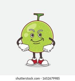 Cantaloupe Melon cartoon mascot character with Smirking face