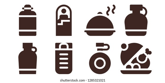 canteen icon set. 8 filled canteen icons. Simple modern icons about  - Canteen, Sleeping bag, Salver