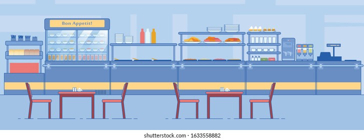 Canteen Interior. Empty Dining Room, Counter with Food Beverage, Tables, Chairs Vector Illustration. Lunchroom Dining Hall in School College Hospital. Cafeteria Cafe Buffet Business