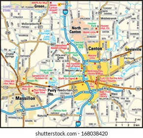 Canton, Ohio area map