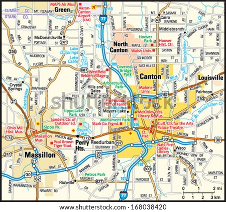 Canton Ohio Area Map Stock Vector Royalty Free 168038420