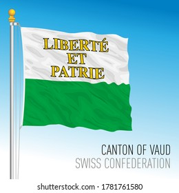 Canton of Vaud, official flag, Switzerland, european country, vector illustration