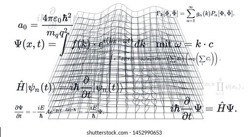 Canvas with 3d shapes and fundamental Quantum Mechanics formulas: Schrodinger equation,  quantum field theory, ect. Conceptual illustration of quantum field fluctuations. Vector illustration.