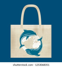 Canvas cotton textiles eco bag. Whale, dolphin, planet Earth. Natural color. Stop plastic pollution. Grunge burlap texture
