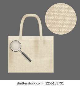 Canvas cotton textiles eco bag. Magnifier close-up. Natural color. Stop plastic pollution. Grunge burlap texture