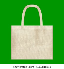 Canvas cotton textiles eco bag. Natural color. Stop plastic pollution. Grunge burlap texture