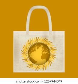 Canvas cotton textiles eco bag. Harvest, wheat, Earth. Natural color. Stop plastic pollution. Grunge burlap texture