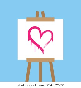 Canvas easel with painted pink heart