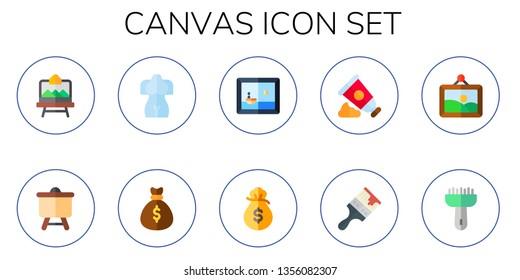 canvas icon set. 10 flat canvas icons.  Collection Of - artboard, sculpture, money bag, painting, paint tube, paint brush, artwork, brush