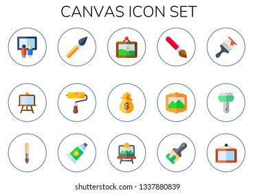 canvas icon set. 15 flat canvas icons.  Collection Of - painting, paint brush, artwork, money bag, brush, paint tube, artboard