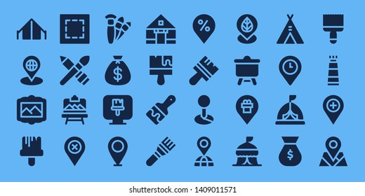 canvas icon set. 32 filled canvas icons. on blue background style Simple modern icons about  - Tent, Placeholder, Painting, Paint brush, Marquee, Brush, Artboard, Brushes, Money bag
