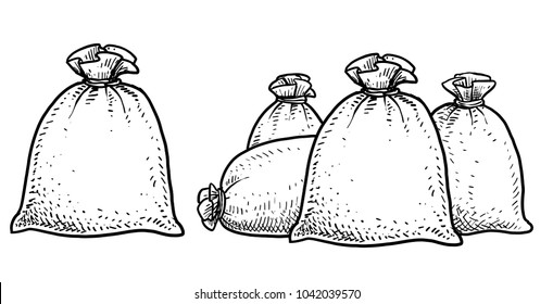 Canvas money sack illustration, drawing, engraving, ink, line art, vector