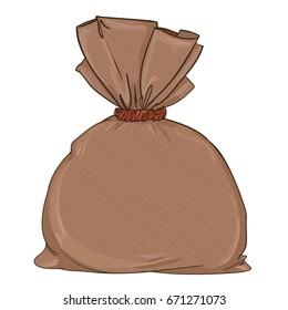 Canvas sack closeup, vector illustration bag