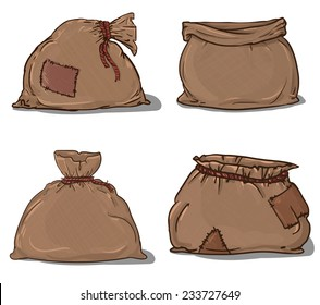 Canvas sack set vector. canvas bag. Illustration of a canvas sack