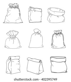 Canvas sack vector. canvas bag. Illustration of a canvas sack. set canvas sack