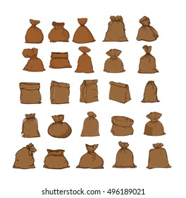 Canvas sack vector. canvas bag. Illustration of a canvas sack. Big set bags