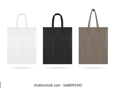 Canvas tote bag mockup for sale. Shopping sack with white, black color. Blank fabric eco bag with handles. Handbag for travel. Reusable ecobag template for shopping. Design vector illustration