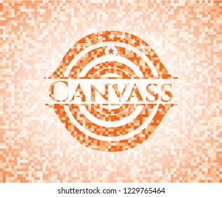 Canvass abstract orange mosaic emblem with background