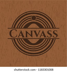 Canvass badge with wood background