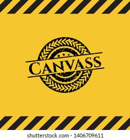 Canvass black grunge emblem with yellow background. Vector Illustration. Detailed.