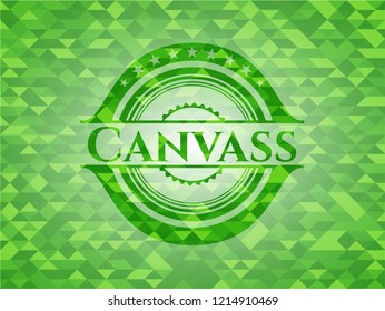 Canvass green emblem with mosaic ecological style background