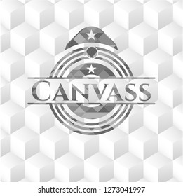 Canvass grey badge with geometric cube white background