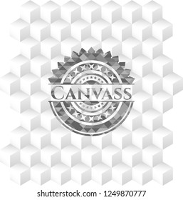 Canvass grey emblem. Vintage with geometric cube white background