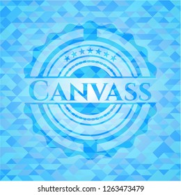 Canvass light blue emblem. Mosaic background