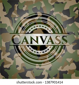 Canvass on camo texture. Vector Illustration. Detailed.