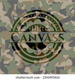 Canvass on camouflage texture