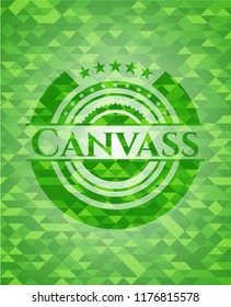 Canvass realistic green mosaic emblem
