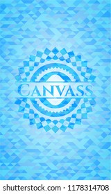 Canvass realistic light blue emblem. Mosaic background