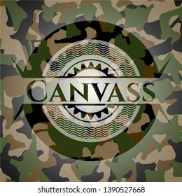 Canvass written on a camouflage texture. Vector Illustration. Detailed.