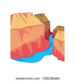 canyon and river landscape isolated