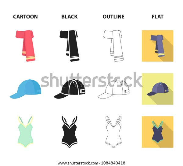 Cap, earrings, necklace, swimsuit. Clothing set collection icons in cartoon,black,outline,flat style vector symbol stock illustration web.
