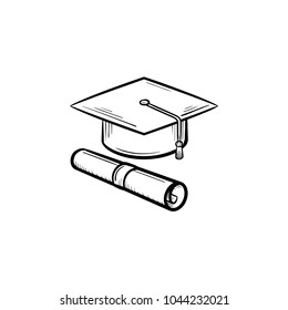 Cap of graduate and certificate degree hand drawn outline doodle icon. Vector sketch icon of graduation cap and degree certificate for print, web, mobile and infographics isolated on white background.